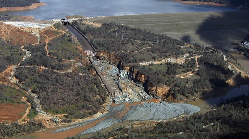 An aerial view of the damaged spillway, February 27, 2017. Image: AP