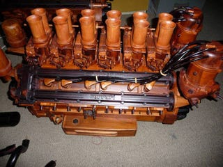 Illustration for article titled This Wooden V12 Ferrari Engine Won't Get You Very Far