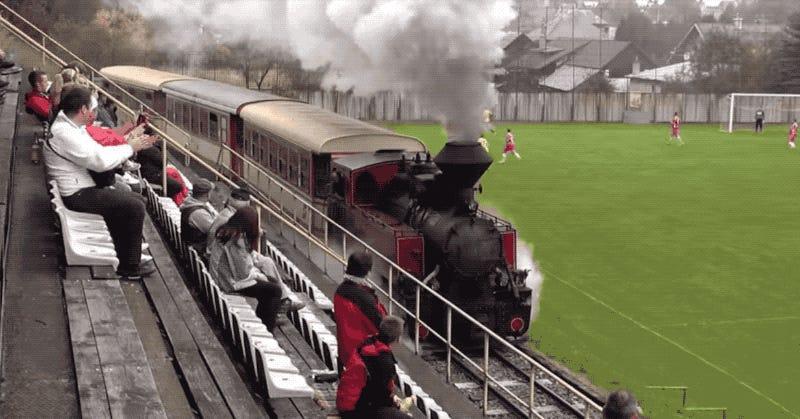 This Railway Runs Right Through a Soccer Field
