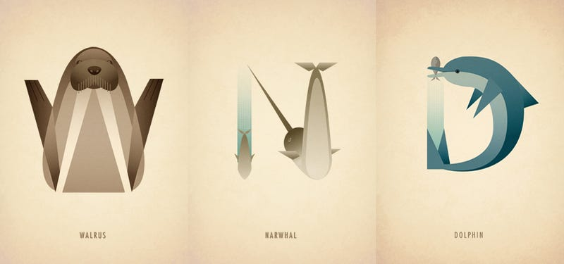 Illustration for article titled N is for Narwhal: Beautiful Animal-Inspired Typography