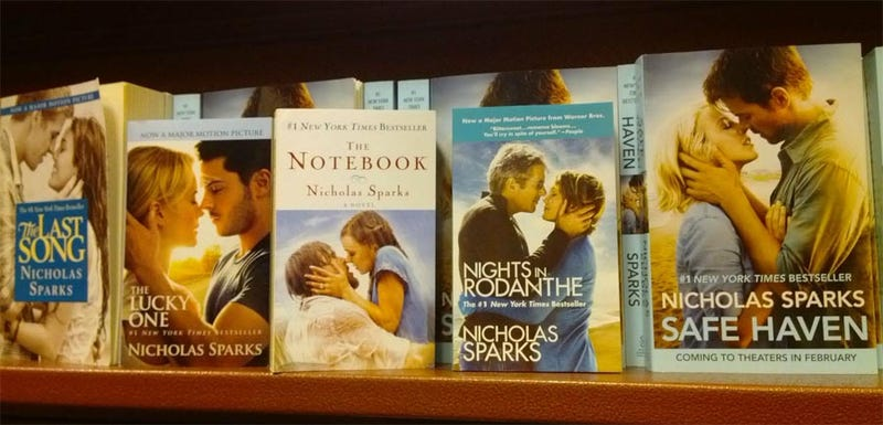 """Illustration for article titled """"White People Not Quite Kissing"""" a book by Nicholas Sparks"""