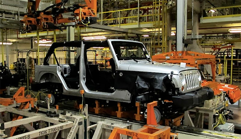 The current Wrangler as it's assembled at FCA's Toledo facility. (Image via Jeep)