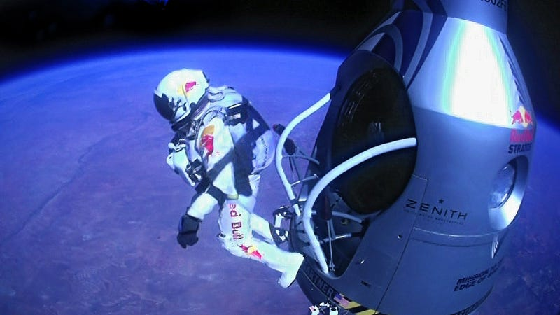 Illustration for article titled More Insane Footage Of Red Bull's Record Shattering, Supersonic Free Fall