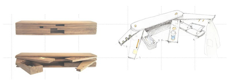 Illustration for article titled Like a Swiss Army Knife, This Wooden Shelf Folds Out to Reveal Multiple Functions