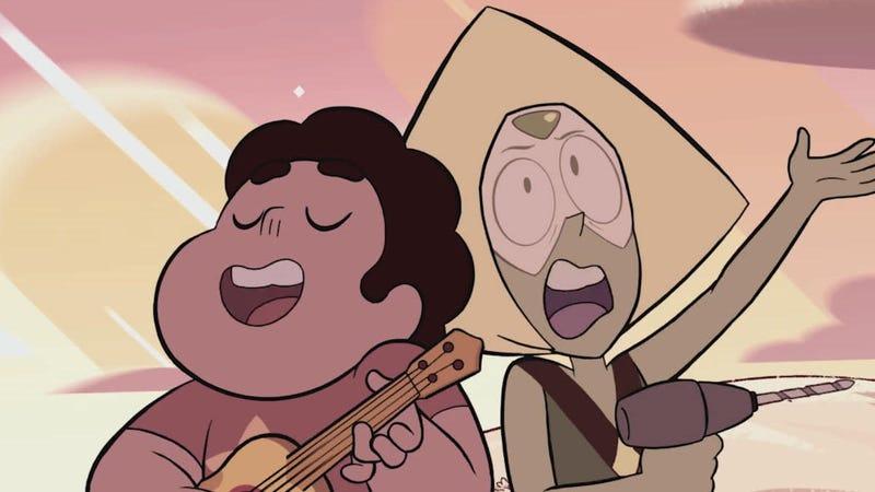 Steven and Peridot singing.