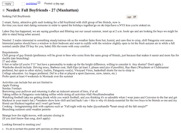 Women Prep For Autumn With Craigslist Ad Seeking Fall