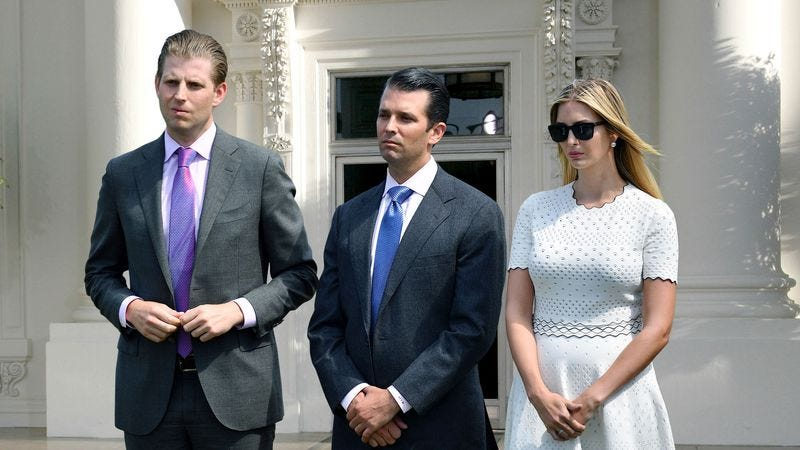 Illustration for article titled Ivanka, Donald Jr., Eric Trump Removed From White House After Mother Wins 25-Year Custody Battle