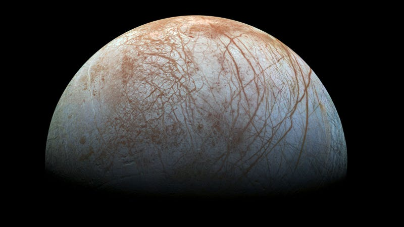 Jupiter's moon Europa is believed to have a warm, liquid water ocean beneath its surface. Image: NASA