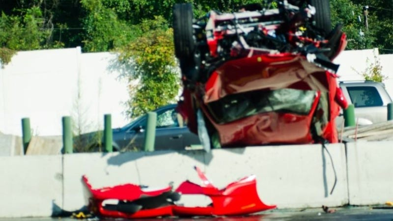 Illustration for article titled This Ferrari 458 Was Obliterated After A Crash In Virginia