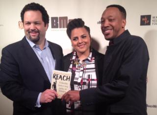 Singer Marsha Ambrosius with Reach co-editors Ben Jealous (left) and Trabian ShortersTwitter