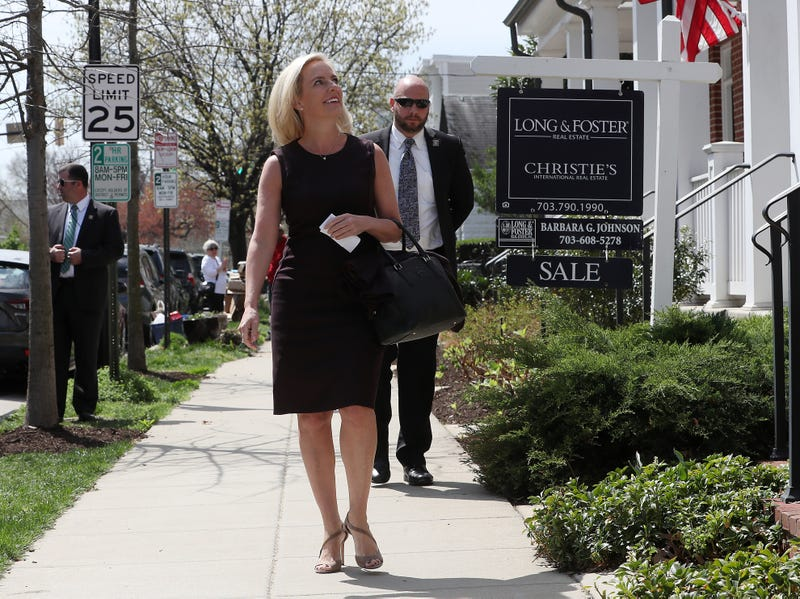 Outgoing Department of Homeland Security Secretary Kirstjen Nielsen walks out of her home to speak to the media on April 08, 2019 in Alexandria, Virginia. President Trump announced the departure of Nielson on Twitter after the two met at the White House on Sunday.
