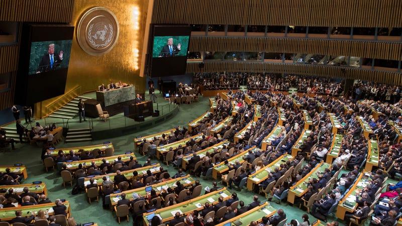 Donald Trump addressing the UN, September 2017. Image via the AP.
