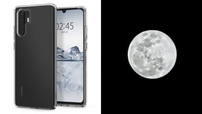 El Huawei P30 Pro en una imagen del fabricante de fundas Spigen y una foto de la luna tomada con el teléfono