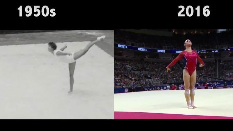 Gymnastics then and now (Screenshot: YouTube)