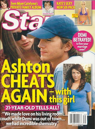 Illustration for article titled This Week In Tabloids: Ashton Cheats On Demi (Again)