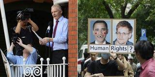 Julian Assange in August 2012 (Michael Jaworski/FilmMagic/Getty); Edward Snowden supporters in Hong Kong (Jessica Hromas/Getty)