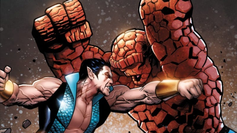 Illustration for article titled It's Earth vs. Water as The Sub-Mariner and The Thing Face Off in Uncanny X-Men #12