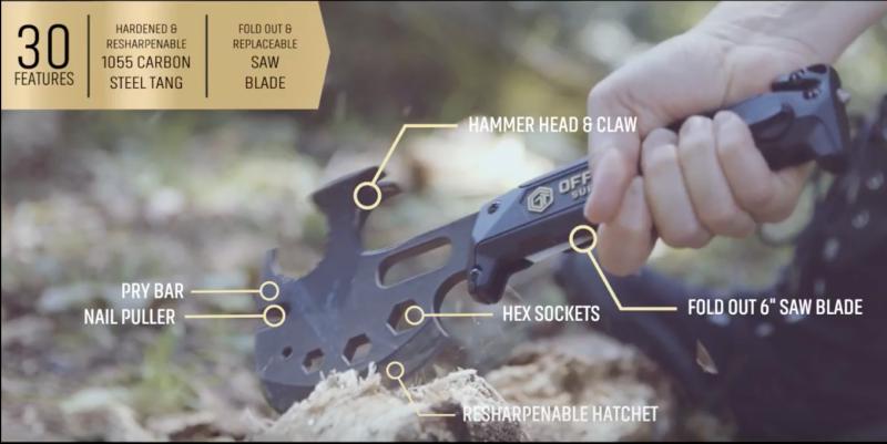 Hacha de supervivencia Off Grid Tools | $35 | AmazonImagen: YouTube