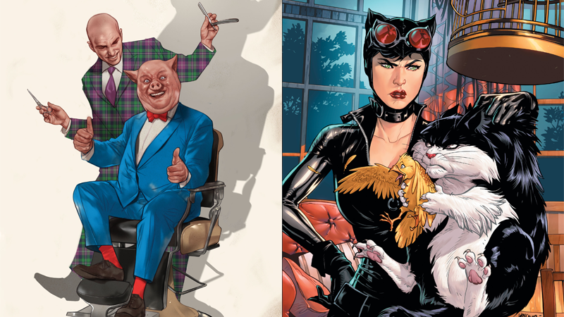 Cover art for Lex Luthor/Porky Pig and Catwoman/Sylvester and Tweety. God, Porky's face you guys. Porky's face.