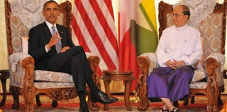 President Obama and President Thein Sein of Burma (Kaung Htet/Getty Images News)