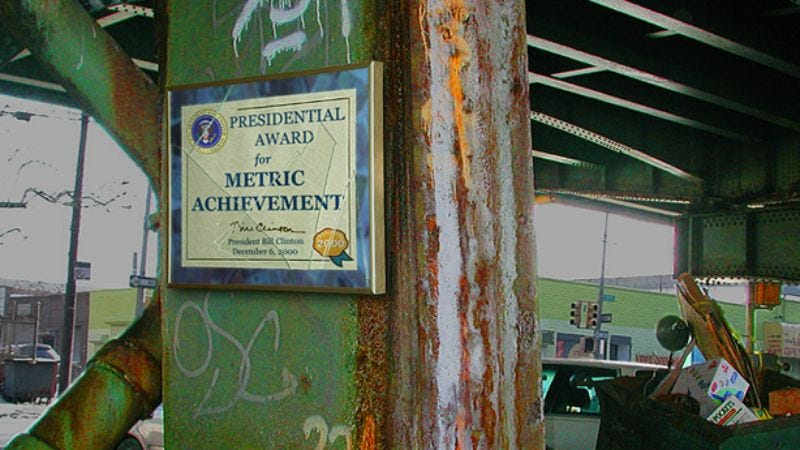 A Presidential Award For Metric Achievement hangs in an area of Detroit renowned for its metric use.