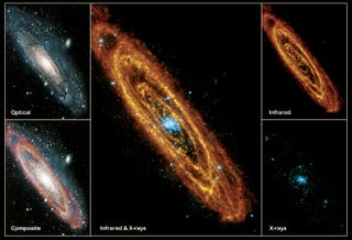 Illustration for article titled How three different types of light reveal the complete beauty of the Andromeda Galaxy