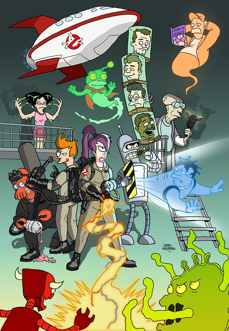 Illustration for article titled The Planet Express crew ain't afraid of no ghosts