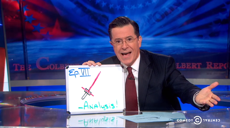 Illustration for article titled Stephen Colbert's Defense Of The New Lightsaber Is Awesomely Nerdy