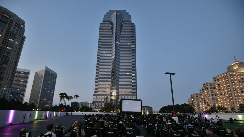 A screening of Die Hard outside Fox Plaza, aka, Nakatomi Plaza, the building where the film was set and filmed.