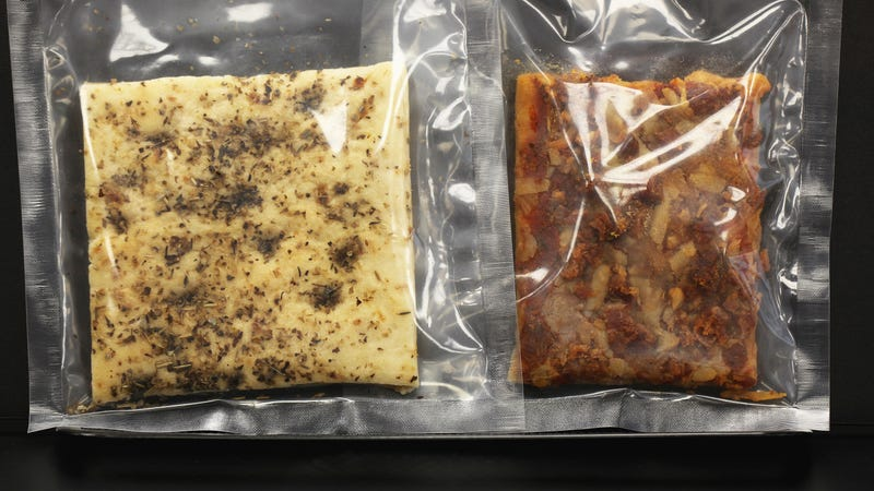 Focaccia and pepperoni pizza prototypes for soldiers' meals at the Natick Laboratory Army Research, Development, And Engineering Center.