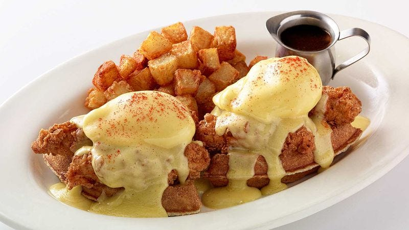 One of the offending dishes, Cheesecake Factory's Fried Chicken And Waffles Benedict (Photo: The Cheesecake Factory)
