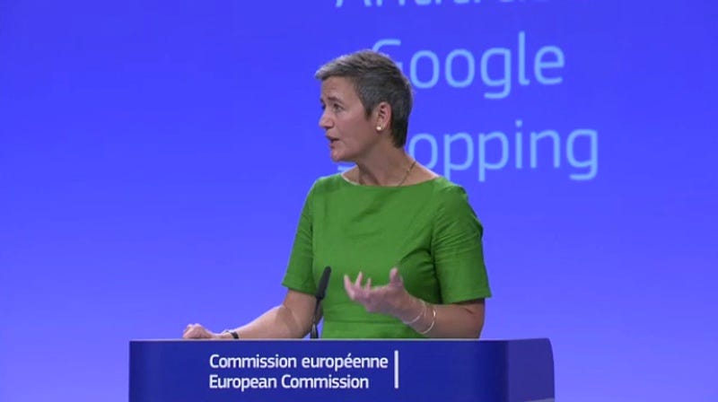 Margrethe Vestager, member of the European Commission in charge of competition, in a press conference today broadcast live online (Screenshot)