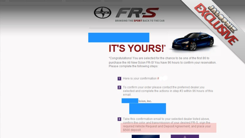 Illustration for article titled Scion Won't Tell First 86 Buyers How Much The FR-S Costs