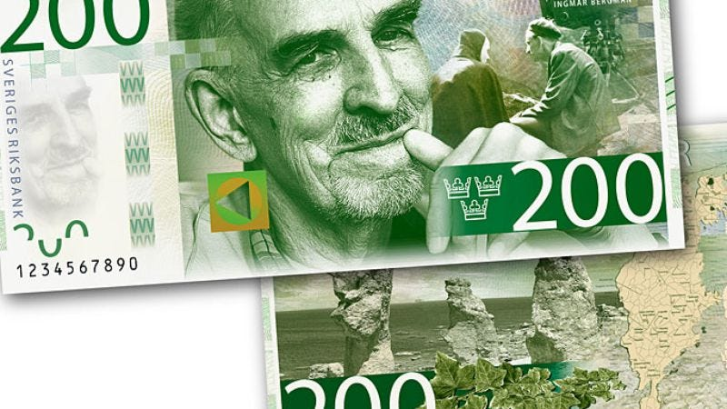 Illustration for article titled Sweden's money now has Ingmar Bergman on it