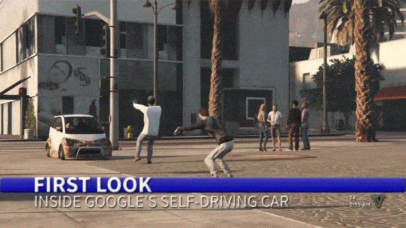 Google's Self-Driving Car Goes Wild In GTA V