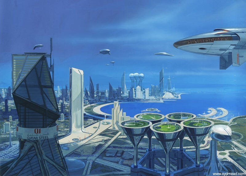 Illustration for article titled Doha, Qatar: A Future City as Envisioned by Syd Mead