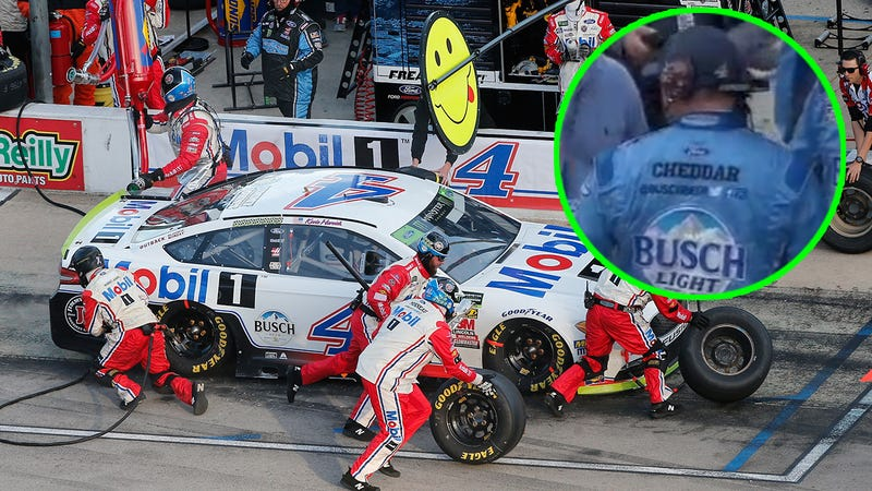 Harvick's car (Photo by Getty Images) with Cheddar in inset. (Screenshot taken by Nick Bromberg)