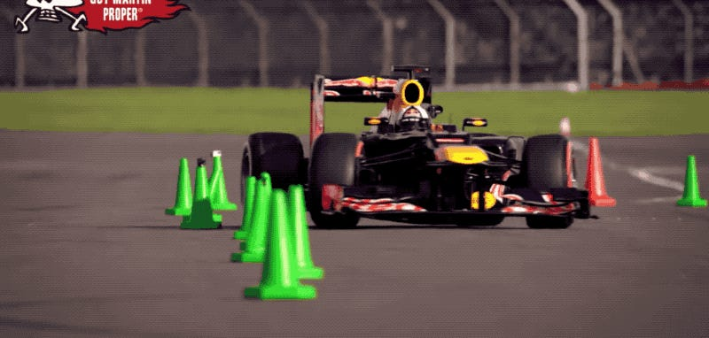 Watch An F1 Car And A Motorcycle Go Head-To-Head On A Slalom Test