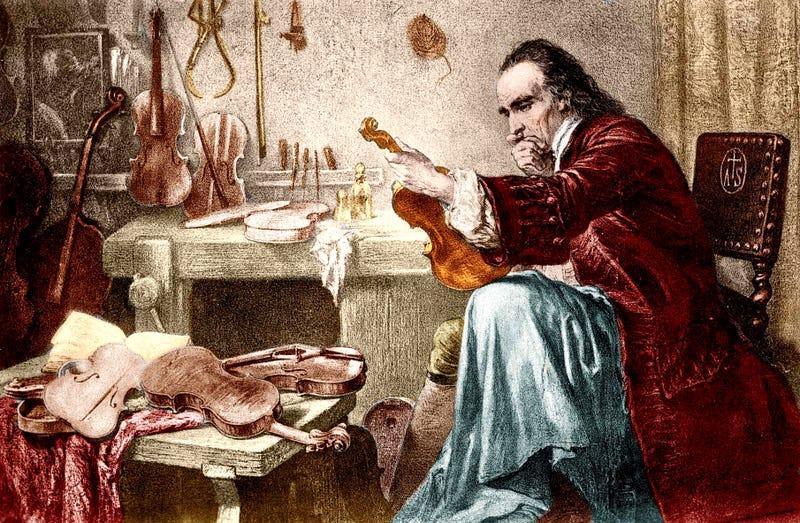 Grabado del maestro Stradivari en su taller