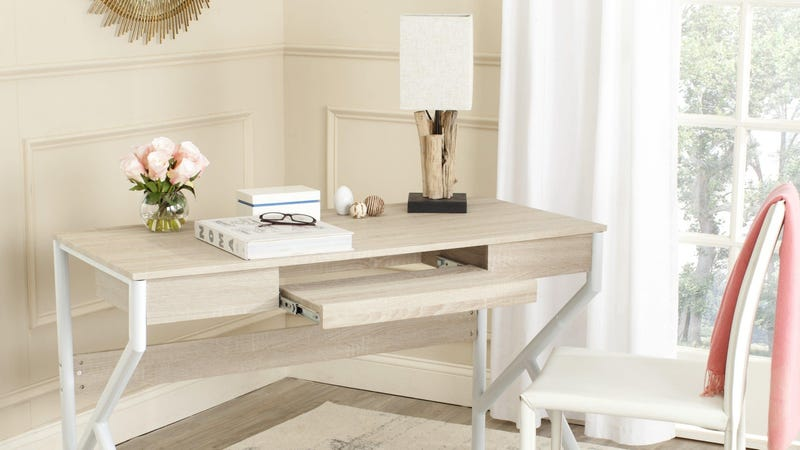 Overstock 4-Day Easter Flash SaleSafavieh Bryant Natural Top/ White Legs Computer Desk | $147 | Overstock