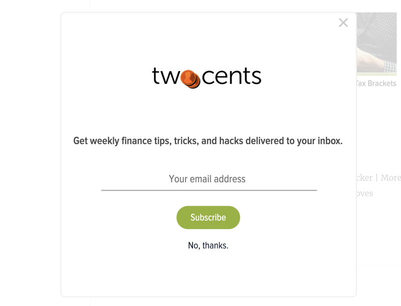 Illustration for article titled Two Cents Newsletter Widget Live