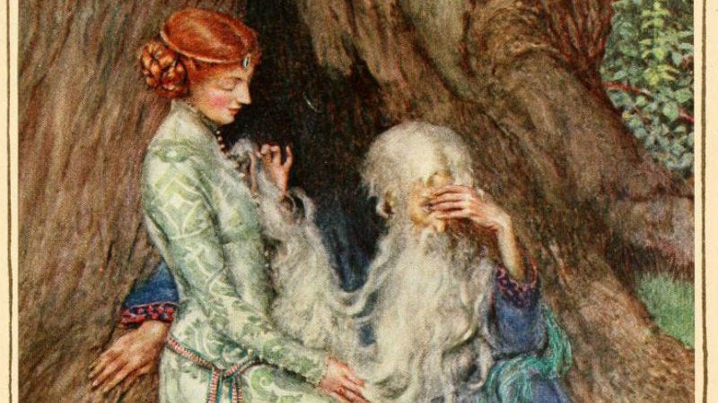 The Lady of the Lake and Arthur in the painting Idyls of the King by Eleanor Fortescue-Brickdale