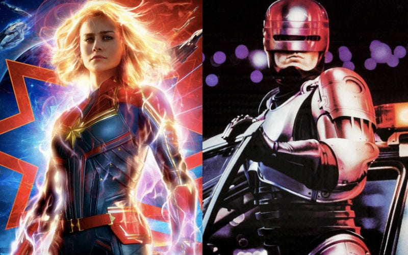 Captain Marvel and RoboCop share some of the same DNA. Figuratively.