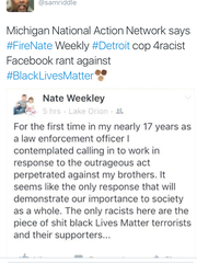 The controversial Facebook comment made by Detroit Police Detective Nathan WeekleyDetroit Free Press via Facebook