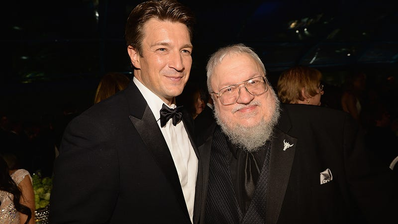 Illustration for article titled Oh, It's Just George RR Martin Hanging Out With Nathan Fillion