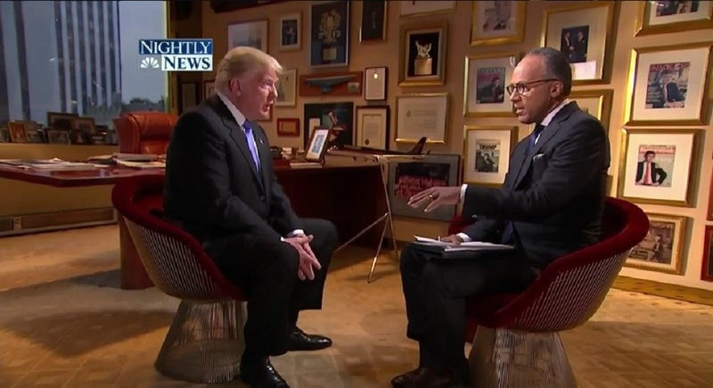 Lester Holt (right) interviews Donald J. Trump at the Trump Tower in May 2016.NBC News screenshot
