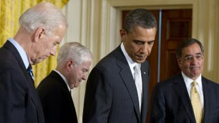 President Barack Obama steps away from the podium as he announces that he will nominate Leon Panetta (far right), then the director of the Central Intelligence Agency, as secretary of defense to succeed then-Secretary of Defense Robert Gates (second from left), alongside Vice President Joe Biden (far left), in the East Room of the White House in Washington, D.C., April 28, 2011.SAUL LOEB/AFP/Getty Images