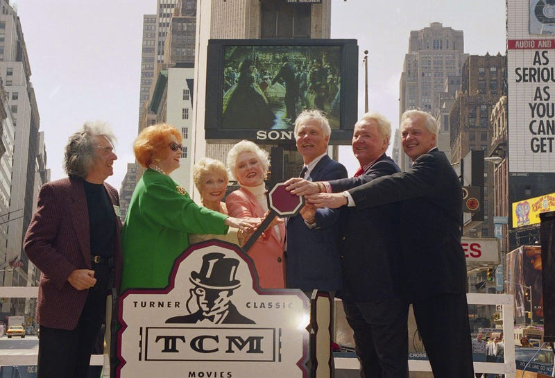 Osborne, far right, at the launch of TCM in 1994. Image via AP.