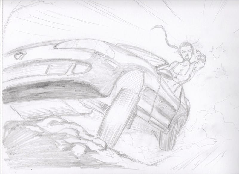 Illustration for article titled Lara Croft in 96 Eagle Talon outfitted for off-road use