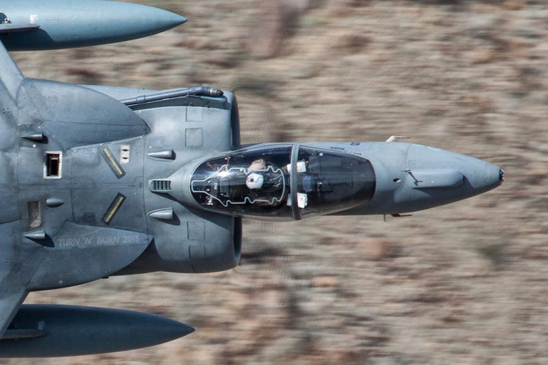 Illustration for article titled This Wild Photo Shows Warped Air Getting Gulped Into A Harrier's Engine